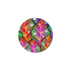 Abstract Background Colorful Leaves Golf Ball Marker (10 Pack)