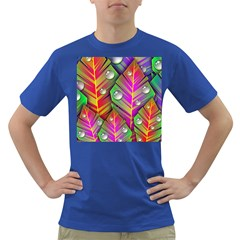 Abstract Background Colorful Leaves Dark T Shirt
