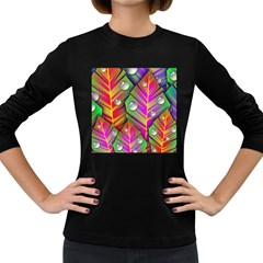 Abstract Background Colorful Leaves Women s Long Sleeve Dark T Shirts