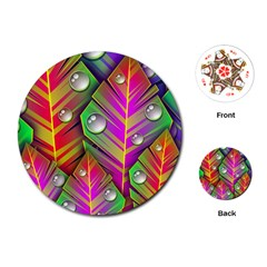 Abstract Background Colorful Leaves Playing Cards (round)