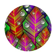 Abstract Background Colorful Leaves Round Ornament (two Sides)