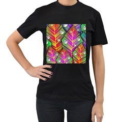 Abstract Background Colorful Leaves Women s T Shirt (black)
