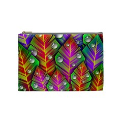 Abstract Background Colorful Leaves Cosmetic Bag (medium)