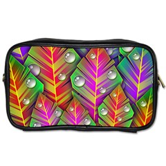 Abstract Background Colorful Leaves Toiletries Bags