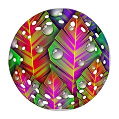 Abstract Background Colorful Leaves Round Filigree Ornament (two Sides)