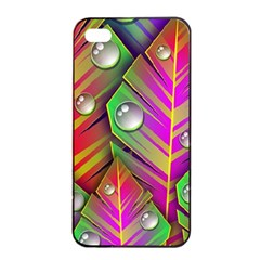 Abstract Background Colorful Leaves Apple Iphone 4/4s Seamless Case (black)