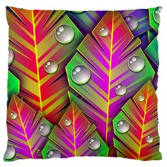 Abstract Background Colorful Leaves Large Cushion Case (one Side)