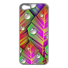 Abstract Background Colorful Leaves Apple Iphone 5 Case (silver)