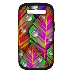 Abstract Background Colorful Leaves Samsung Galaxy S Iii Hardshell Case (pc+silicone)