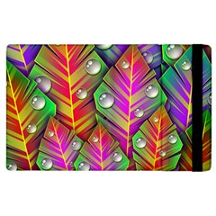 Abstract Background Colorful Leaves Apple Ipad 2 Flip Case
