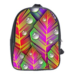 Abstract Background Colorful Leaves School Bag (xl)