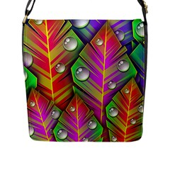 Abstract Background Colorful Leaves Flap Messenger Bag (l)