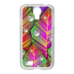 Abstract Background Colorful Leaves Samsung Galaxy S4 I9500/ I9505 Case (white)