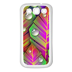 Abstract Background Colorful Leaves Samsung Galaxy S3 Back Case (white)