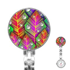 Abstract Background Colorful Leaves Stainless Steel Nurses Watch