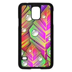 Abstract Background Colorful Leaves Samsung Galaxy S5 Case (black)