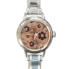 Background Floral Flower Stylised Round Italian Charm Watch