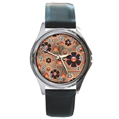 Background Floral Flower Stylised Round Metal Watch