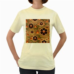 Background Floral Flower Stylised Women s Yellow T Shirt