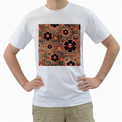 Background Floral Flower Stylised Men s T Shirt (white) (two Sided)