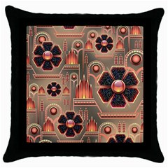 Background Floral Flower Stylised Throw Pillow Case (black)