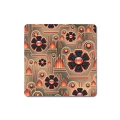 Background Floral Flower Stylised Square Magnet