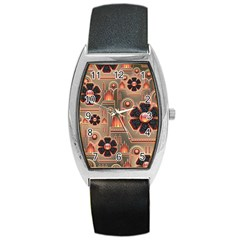Background Floral Flower Stylised Barrel Style Metal Watch