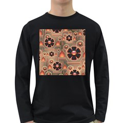 Background Floral Flower Stylised Long Sleeve Dark T Shirts
