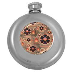 Background Floral Flower Stylised Round Hip Flask (5 Oz)