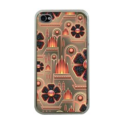 Background Floral Flower Stylised Apple Iphone 4 Case (clear)