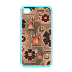 Background Floral Flower Stylised Apple Iphone 4 Case (color)