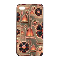 Background Floral Flower Stylised Apple Iphone 4/4s Seamless Case (black)