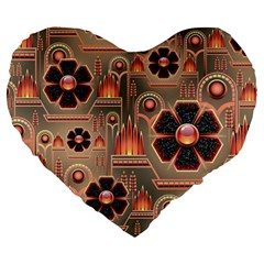 Background Floral Flower Stylised Large 19  Premium Heart Shape Cushions