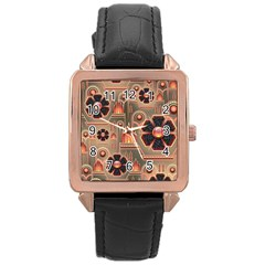 Background Floral Flower Stylised Rose Gold Leather Watch