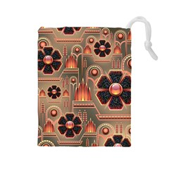 Background Floral Flower Stylised Drawstring Pouches (large)