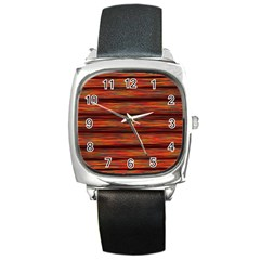 Colorful Abstract Background Strands Square Metal Watch