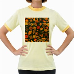 Pattern Background Ethnic Tribal Women s Fitted Ringer T Shirts