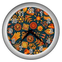 Pattern Background Ethnic Tribal Wall Clocks (silver)