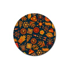Pattern Background Ethnic Tribal Rubber Round Coaster (4 Pack)