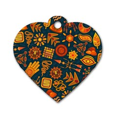 Pattern Background Ethnic Tribal Dog Tag Heart (one Side)