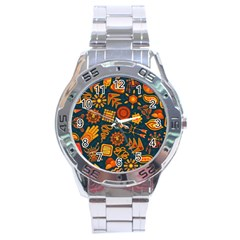 Pattern Background Ethnic Tribal Stainless Steel Analogue Watch