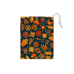 Pattern Background Ethnic Tribal Drawstring Pouches (small)