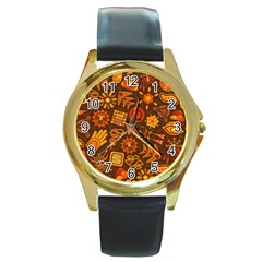 Pattern Background Ethnic Tribal Round Gold Metal Watch