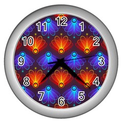 Background Colorful Abstract Wall Clocks (silver)