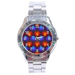 Background Colorful Abstract Stainless Steel Analogue Watch