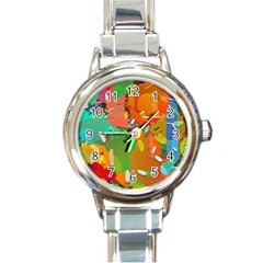 Background Colorful Abstract Round Italian Charm Watch