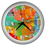 Background Colorful Abstract Wall Clocks (Silver)  Front