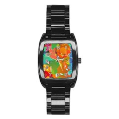 Background Colorful Abstract Stainless Steel Barrel Watch