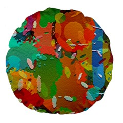 Background Colorful Abstract Large 18  Premium Flano Round Cushions