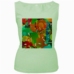 Background Colorful Abstract Women s Green Tank Top